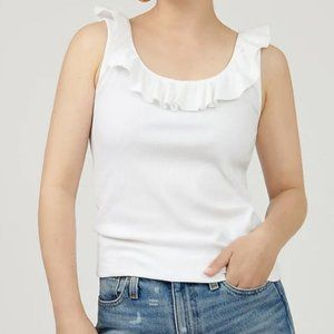 NWOT J. Crew White Ribbed Ruffle Tank Top